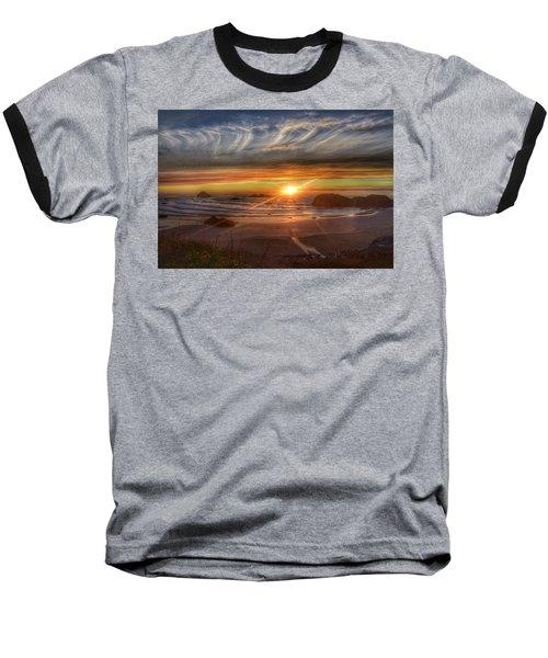 Baseball T-Shirt featuring the photograph Bandon Sunset by Bonnie Bruno