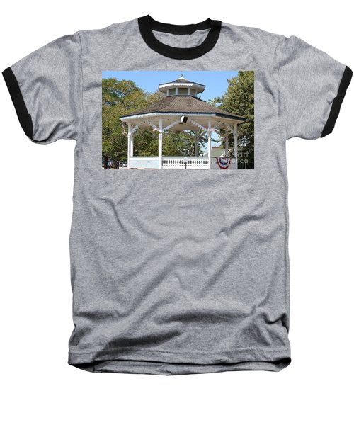 Baseball T-Shirt featuring the painting Bandshell In Plymouth, Mass by Rod Jellison