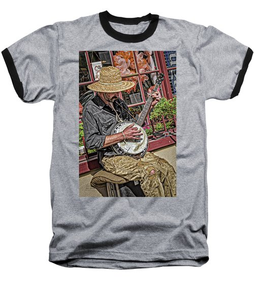 Baseball T-Shirt featuring the photograph Banjo Man Orange by Jim Thompson