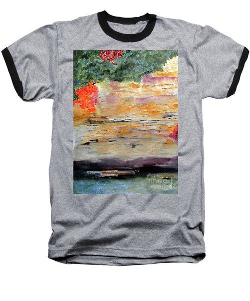 Baseball T-Shirt featuring the painting Bank Of The Gauley River by Sandy McIntire