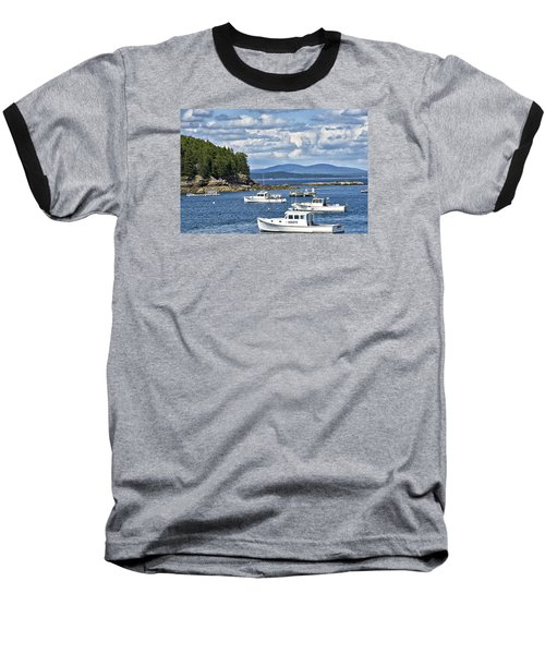 Bar Harbor Lobster Boats - Frenchman Bay Baseball T-Shirt by Brendan Reals