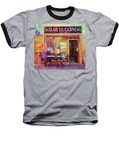 Bar Puccini Lucca Italy Baseball T-Shirt by Wally Hampton