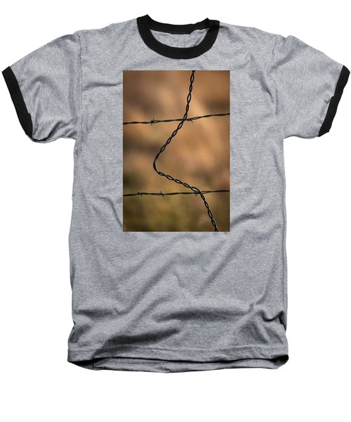 Baseball T-Shirt featuring the photograph Barbed And Bent Fence by Monte Stevens