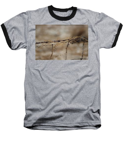 Barbed Wire Entwined With Dried Vine In Autumn Baseball T-Shirt