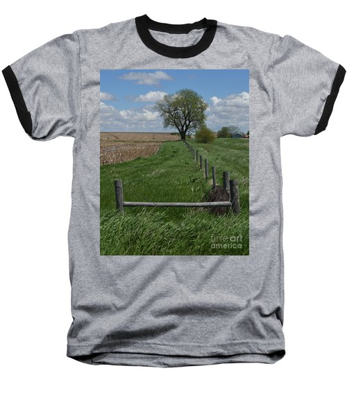 Barbed Wire Fence Line Baseball T-Shirt