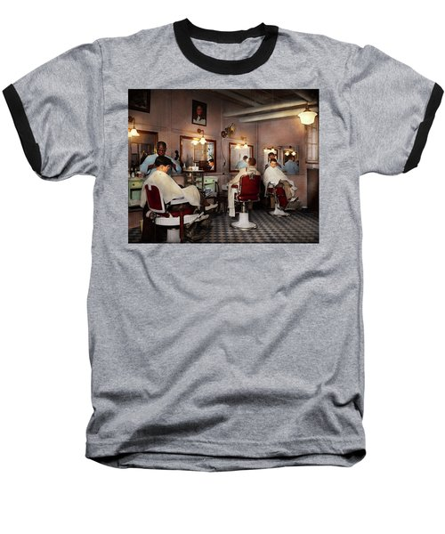 Baseball T-Shirt featuring the photograph Barber - Senators-only Barbershop 1937 by Mike Savad
