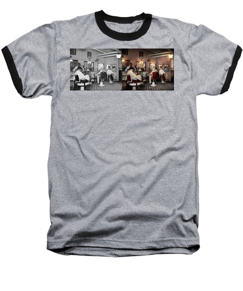 Baseball T-Shirt featuring the photograph Barber - Senators-only Barbershop 1937 - Side By Side by Mike Savad