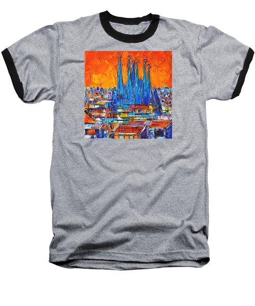 Barcelona Abstract Cityscape 7 - Sagrada Familia Baseball T-Shirt by Ana Maria Edulescu