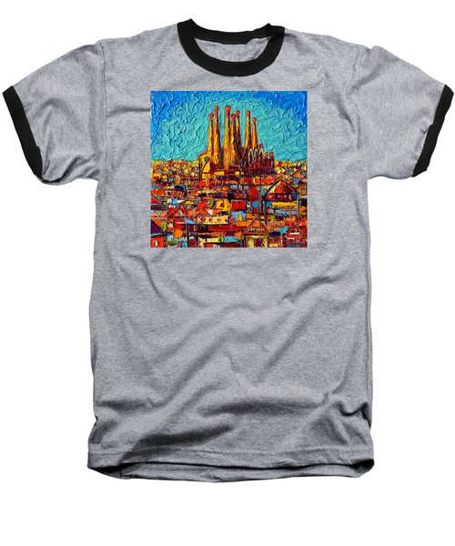 Barcelona Abstract Cityscape - Sagrada Familia Baseball T-Shirt