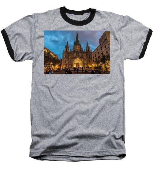 Barcelona Cathedral At Dusk Baseball T-Shirt by Randy Scherkenbach