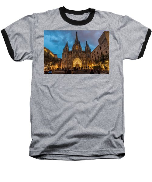 Barcelona Cathedral At Dusk Baseball T-Shirt