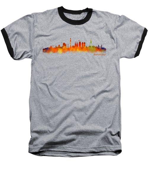 Barcelona City Skyline Hq V2 Baseball T-Shirt