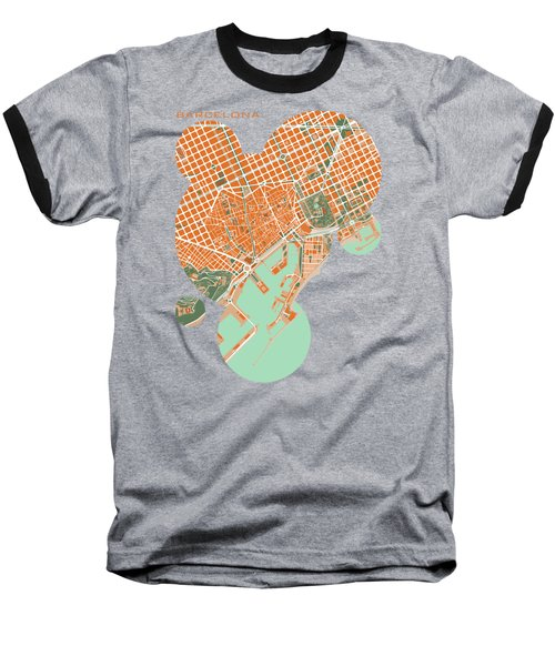 Barcelona Orange Baseball T-Shirt by Jasone Ayerbe- Javier R Recco