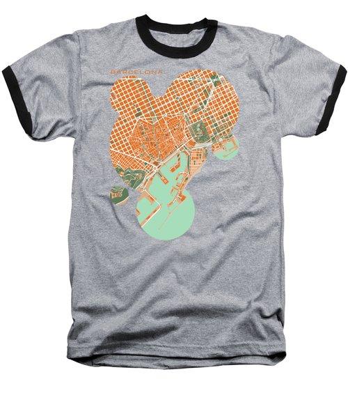 Barcelona Orange Baseball T-Shirt