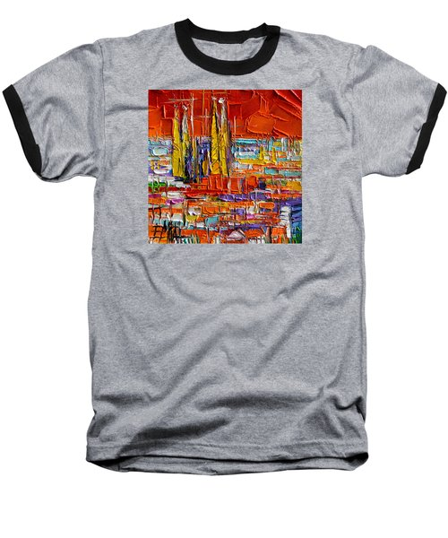 Barcelona View From Parc Guell - Abstract Miniature Baseball T-Shirt