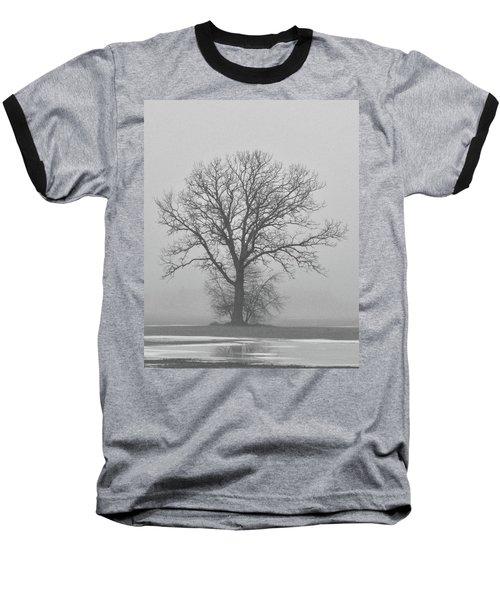 Bare Tree In Fog Baseball T-Shirt by Nancy Landry