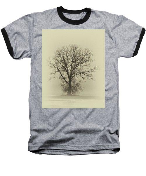Bare Tree In Fog- Nik Filter Baseball T-Shirt by Nancy Landry