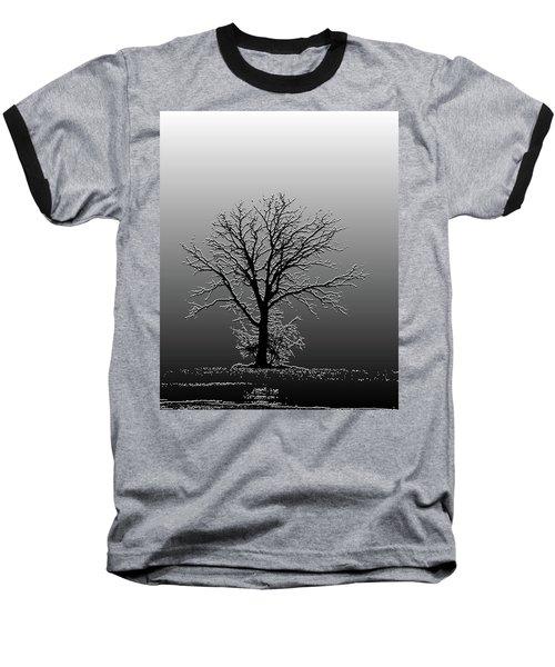 Bare Tree In Fog- Pe Filter Baseball T-Shirt by Nancy Landry