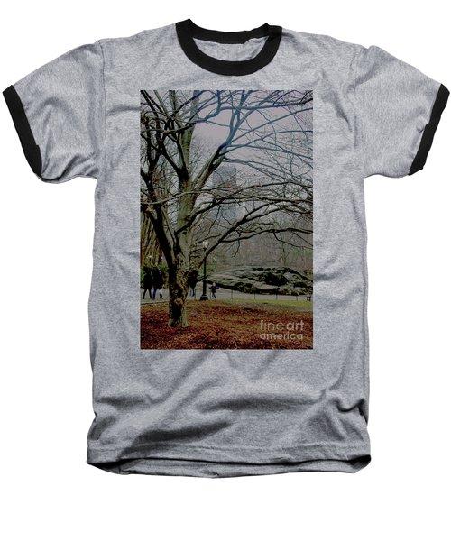 Bare Tree On Walking Path Baseball T-Shirt
