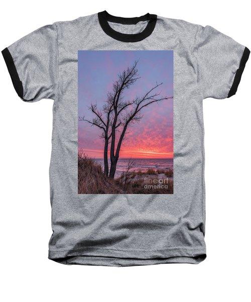 Bare Trees Overlooking A Beautiful Sunset Baseball T-Shirt