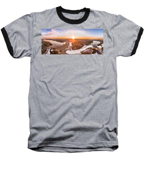 Barkhamsted Reservoir And Saville Dam In Connecticut, Sunrise Panorama Baseball T-Shirt