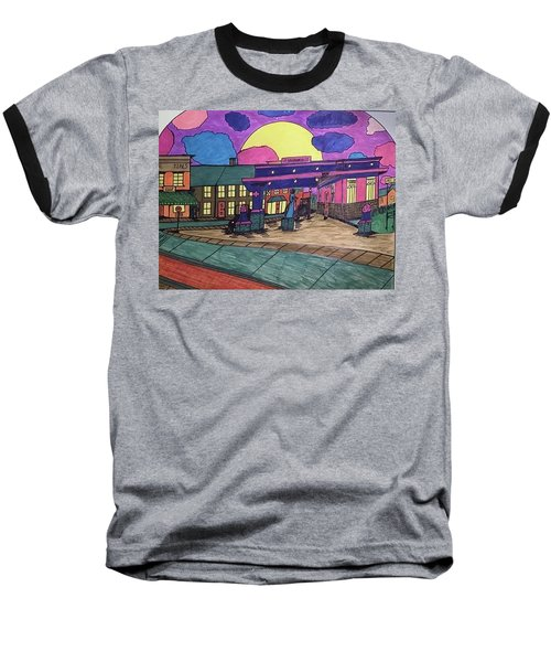Baseball T-Shirt featuring the drawing Barkhausen Filling Station. by Jonathon Hansen
