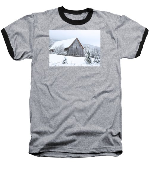 Barn After Snow Baseball T-Shirt by Tim Kirchoff