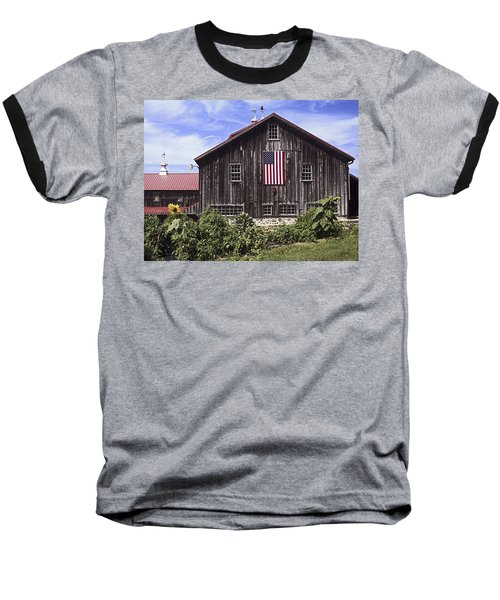 Barn And American Flag Baseball T-Shirt by Sally Weigand