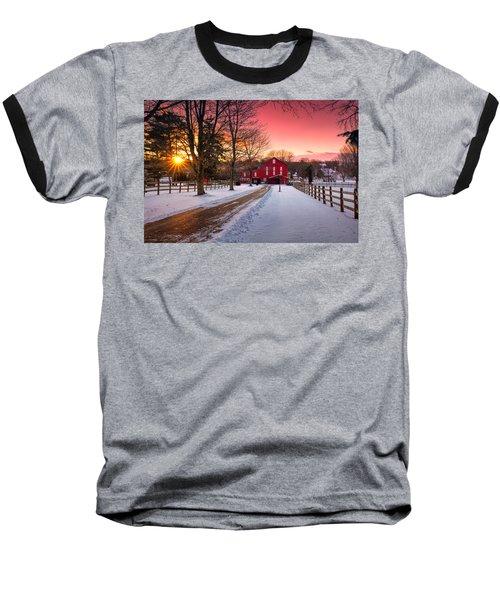 Barn At Sunset  Baseball T-Shirt by Emmanuel Panagiotakis