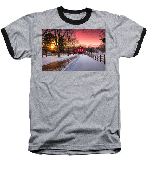 Barn At Sunset  Baseball T-Shirt