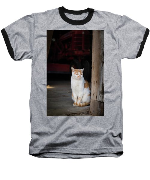 Barn Cat And Tractor Baseball T-Shirt