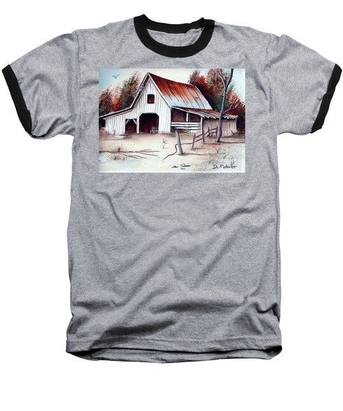 Baseball T-Shirt featuring the painting Barn by Denise Fulmer