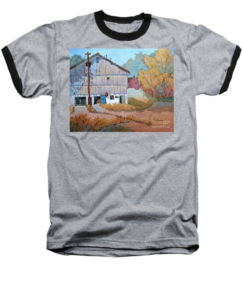 Barn Door Whimsy Baseball T-Shirt by Joyce Hicks
