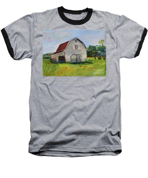 Baseball T-Shirt featuring the painting Barn-harrison Park, Ellijay-pinson Barn by Jan Dappen