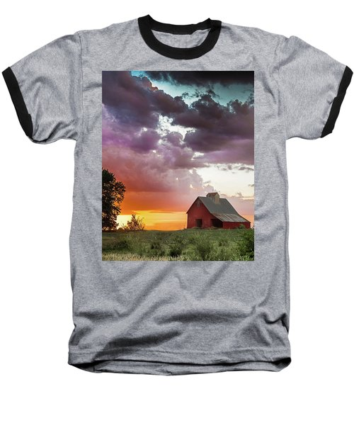 Barn In Stormy Skies Baseball T-Shirt