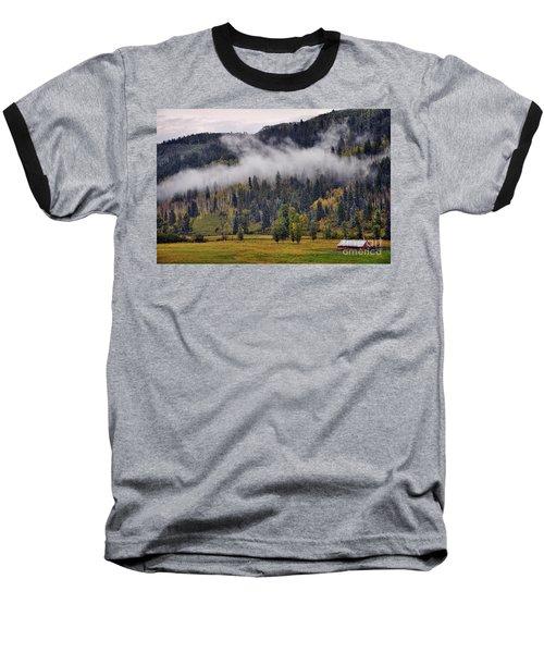 Barn In The Mist Baseball T-Shirt