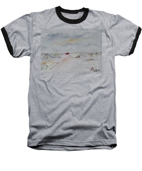 Baseball T-Shirt featuring the painting Barn In Winter by Judith Rhue