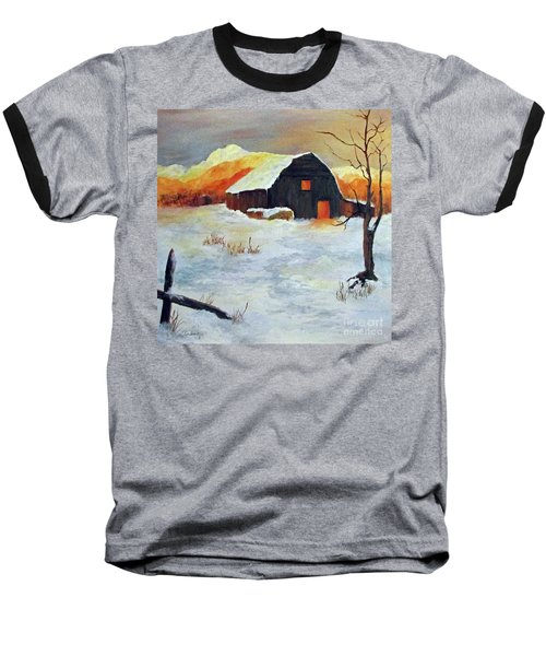 Barn In Winter Baseball T-Shirt
