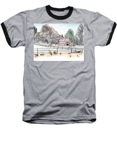 Barn In Winter Woods Baseball T-Shirt