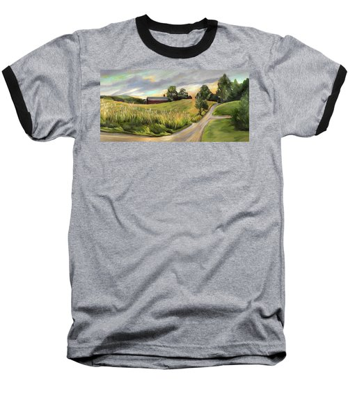 Barn On The Ridge In West Newbury Vermont Baseball T-Shirt
