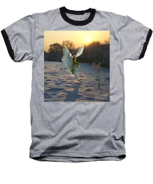 Barn Owl In Snowy Sunset Baseball T-Shirt