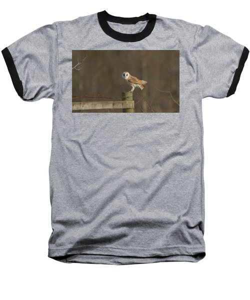Barn Owl On Fence Baseball T-Shirt
