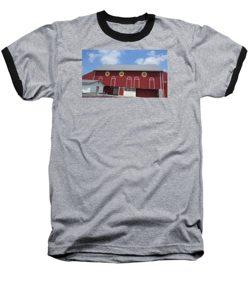 Baseball T-Shirt featuring the photograph Barn With Hex Signs by Jeanette Oberholtzer