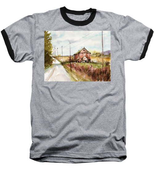 Barns And Electric Poles, Sunday Drive Baseball T-Shirt by Judith Levins
