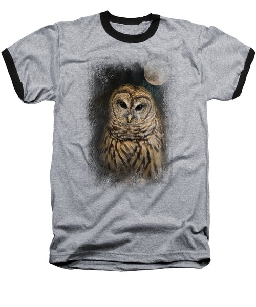Barred Owl And The Moon Baseball T-Shirt by Jai Johnson