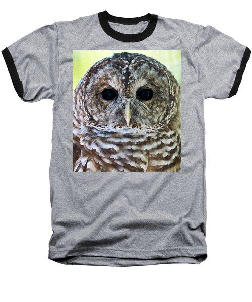 Barred Owl Closeup Baseball T-Shirt