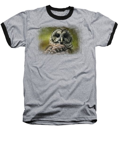 Barred Owl In The Grove Baseball T-Shirt by Jai Johnson