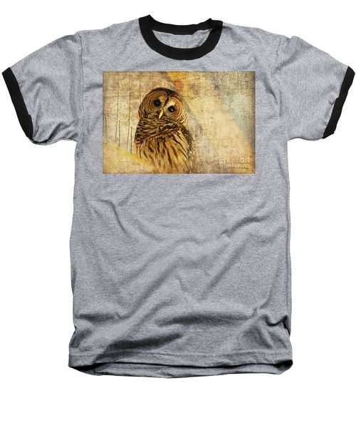 Baseball T-Shirt featuring the photograph Barred Owl by Lois Bryan