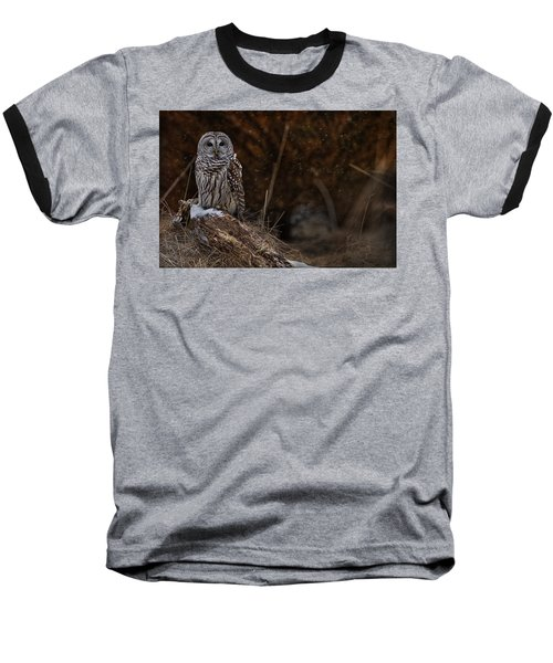Baseball T-Shirt featuring the photograph Barred Owl On Log by Michael Cummings