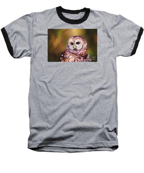Barred Owl Portrait Baseball T-Shirt